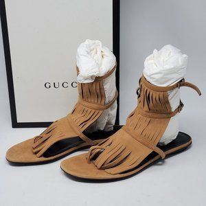 Auth Gucci Suede Fringed Gladiator Becky Sandal